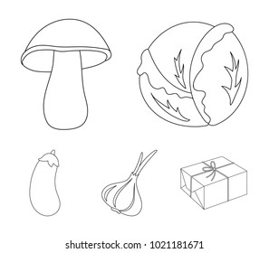Cabbage white, mushroom forest, garlic useful, eggplant. Vegetables set collection icons in outline style vector symbol stock illustration web.