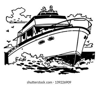 Cabin Cruiser - Retro Clip Art Illustration