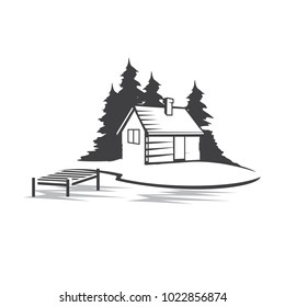 Cabin with dock logo vector