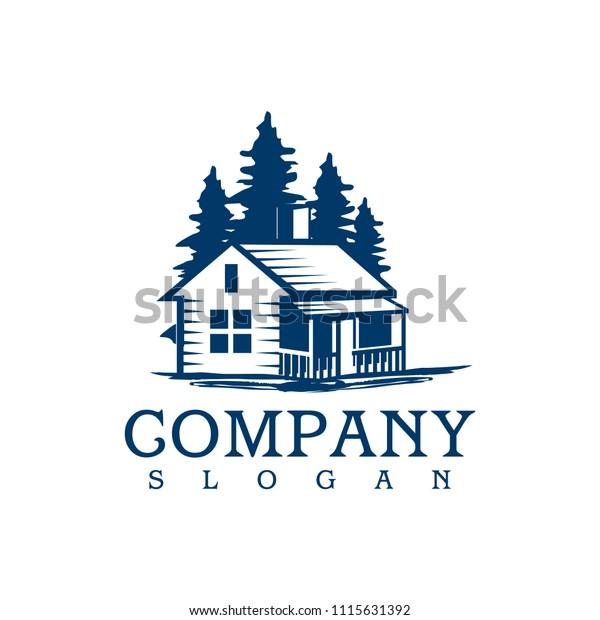 Fashion Logo Editorial Template: Cabin Log Logo Template Stock Vector (Royalty Free) 1115631392