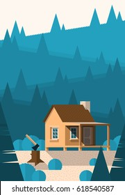 Cabin in the mountains illustration