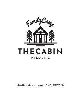 Cabin Vintage Hipster Logo Design Template Vector illustration