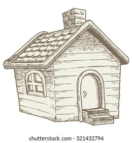 Cabin in the woods: quaint wooden country house. Vintage illustration of a small, simple cottage done in an old-school woodcut style. Reminiscent of traditional farmhouses.