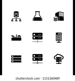 cabinet icon. 9 cabinet set with drawer, chemistry class flask with liquid for experimentation and server vector icons for web and mobile app