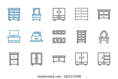cabinet icons set. Collection of cabinet with closet, drawer, dressing table, cupboard, filing cabinet, chest of drawers. Editable and scalable icons.
