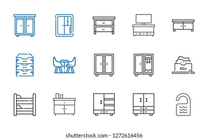 cabinet icons set. Collection of cabinet with room, closet, chest of drawers, bunk, filing cabinet, furniture, archive, drawer, cupboard. Editable and scalable cabinet icons.
