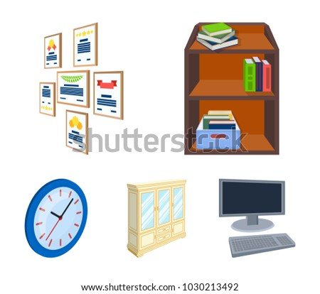 Cabinet Shelving Books Documents Frames On Stock Vector (Royalty ...