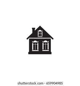 Cabinet sign. Building facade icon. Village house silhouette isolated