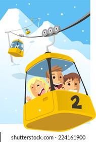 Cable car Gondola Cabin Ski Lift Vector Illustration.
