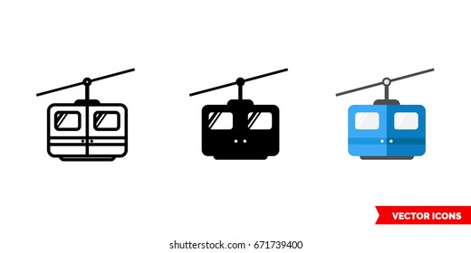 Cable car icon of 3 types: color, black and white, outline. Isolated vector sign symbol.