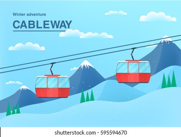 Cable car illustration with place for text. funicular railway banner. cableway in the mountains.