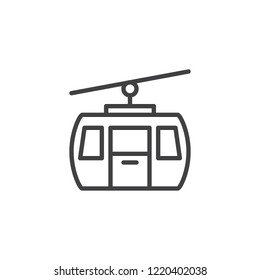 Cable car outline icon. linear style sign for mobile concept and web design. Funicular simple line vector icon. Gondola symbol, logo illustration. Pixel perfect vector graphics