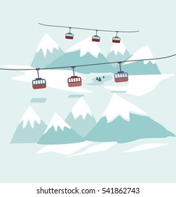 Cable car to snowy mountains design. Ski lift, trolley car, transportation tourism, travel cabin, snow winter, vacation and ropeway, elevator outdoor aerial illustration