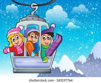 Cable car theme image 2 - eps10 vector illustration.
