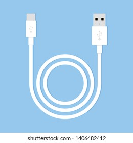 Cable Charger for smartphone on blue background. Long white wire cable. Vector illustration