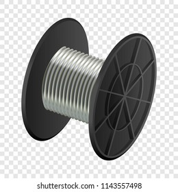 Cable coil mockup. Realistic illustration of cable coil vector mockup for on transparent background