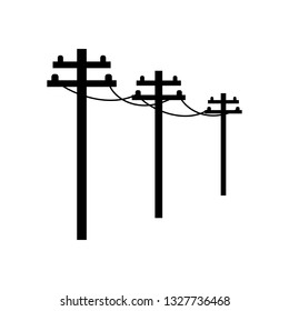 Cable power line, black on white background, vector