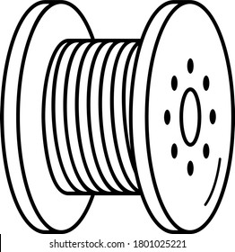 Cable reel. Vector outline icon.