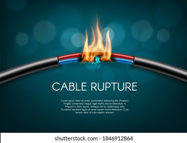 Cable rupture break, electric power wire sparks burn, vector disconnection. Electric cable wire broken or torn, power energy circuit, burning fire flame, connection break, technology background