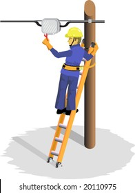 A Cable Television Maintenance Technician, testing an amplifier, climbed onto a ladder made of fibre and aluminum, supported on a pole: He is wearing safety helmet, belt and dielectric gloves.