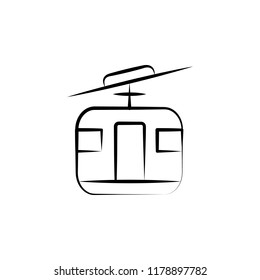 cable transport gondola lift icon. Element of anti aging icon for mobile concept and web apps. Doodle style cable transport gondola lift icon can be used for web and mobile on white background