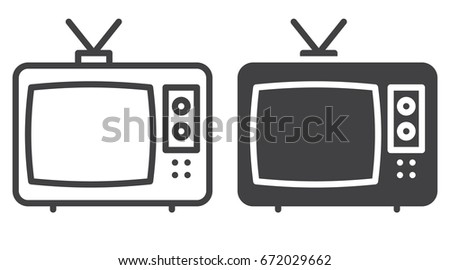 Cable Tv Icon Line Solid Version Stock Vector Royalty Free