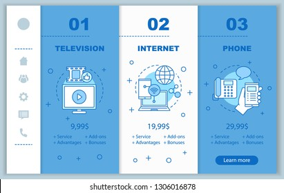 Cable TV, internet, phone bundle onboarding mobile app screens with prices. Walkthrough website pages templates. Communication services providers tariff plans steps. Smartphone payment web page layout