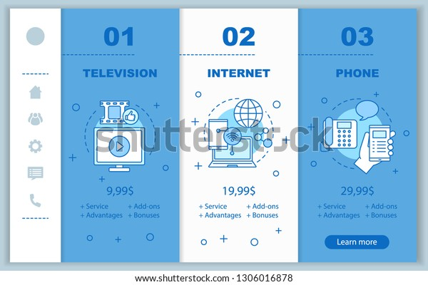 Internet And Cable Providers >> Cable Tv Internet Phone Bundle Onboarding Stock Vector