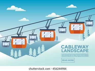 Cable Way Landscape Illustration