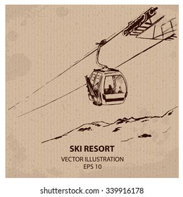 Cable way in the  Ski Mountain Resort. Hand drawn vector illustration