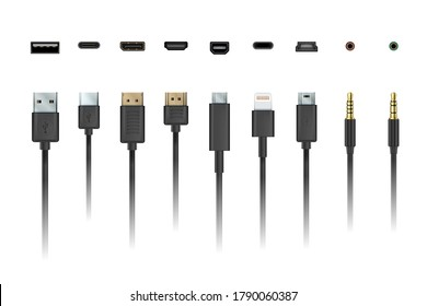 Cable wire. Device charging and connection mobile socket plug and cable illustration. Vector apple lightning, micro and mini usb, type-c port, jack charge connector, audio wire set isolated on white