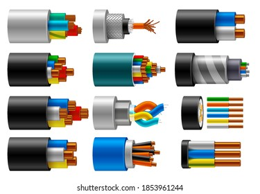 Cable wire, electric, fiber or copper power in cut, vector isolated set. Cable wires structure of cords and insulation optic, internet and coaxial cable conductors with color cords in cross section