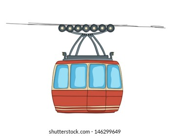 Cable-car on rope-way cartoon drawing over white background