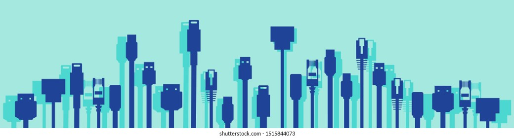 Cables with different plugs like HDMI, USB, ethernet for technology concept vector
