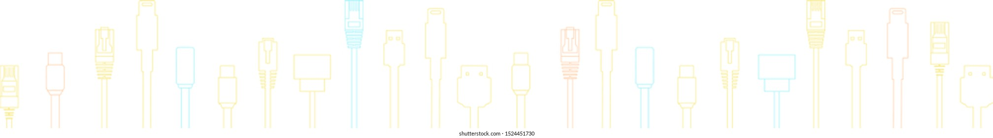 Cables with different plugs like HDMI, USB, ethernet for technology concept