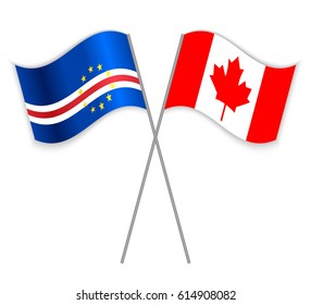 Cabo Verdean and Canadian crossed flags. Cabo Verde combined with Canada isolated on white. Language learning, international business or travel concept.