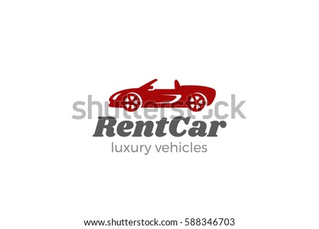 ef4189f23d Cabriolet Car silhouette Logo design vector template. Rent auto vehicle  service company Logotype icon.