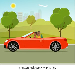 Cabriolet with couple side view.Funny  afro american family driving in red car on weekend holiday. Vector flat style illustration