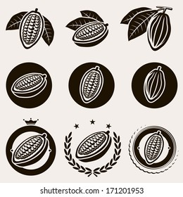 Cacao beans label and icons set. Vector