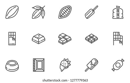 Cacao and Chocolate Vector Line Icons Set. Cocoa Pod, Cocoa Beans, Chocolate Bar, Chocolate Icing. Editable Stroke. 48x48 Pixel Perfect.