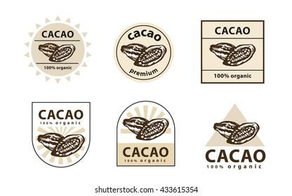 Cacao logo. Cacao bean sign. Cacao icon. Cacao label. Set of cacao logos.