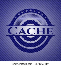 Cache emblem with denim texture