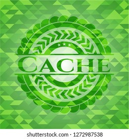 Cache green emblem with mosaic ecological style background