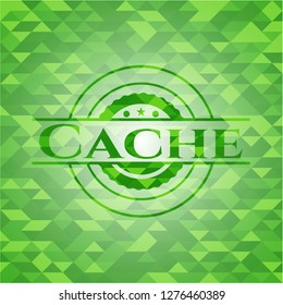 Cache green emblem with triangle mosaic background