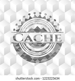 Cache grey badge with geometric cube white background