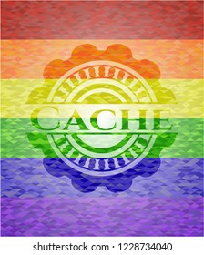 Cache on mosaic background with the colors of the LGBT flag