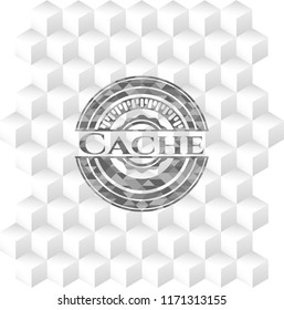 Cache realistic grey emblem with geometric cube white background