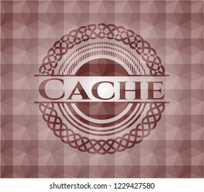 Cache red emblem with geometric background. Seamless.