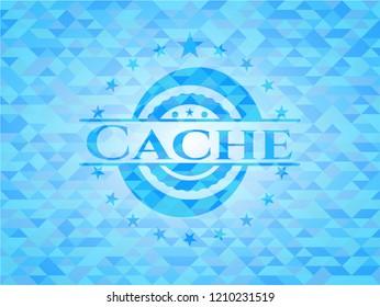 Cache sky blue emblem. Mosaic background