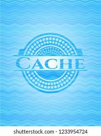 Cache water wave representation emblem background.